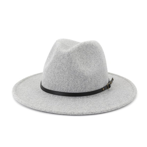 Speckled Fedora With Thin Black Belt