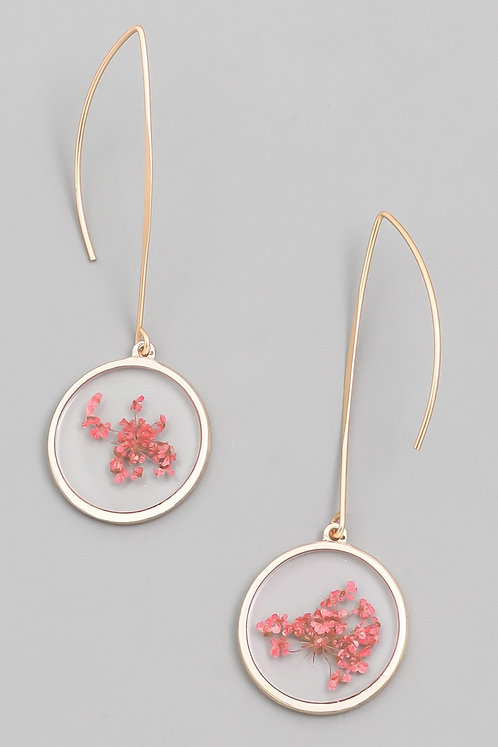 Clear Pink Floral Dangle Earrings