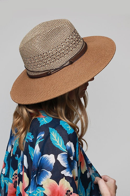 Brown Two-Toned Panama Hat