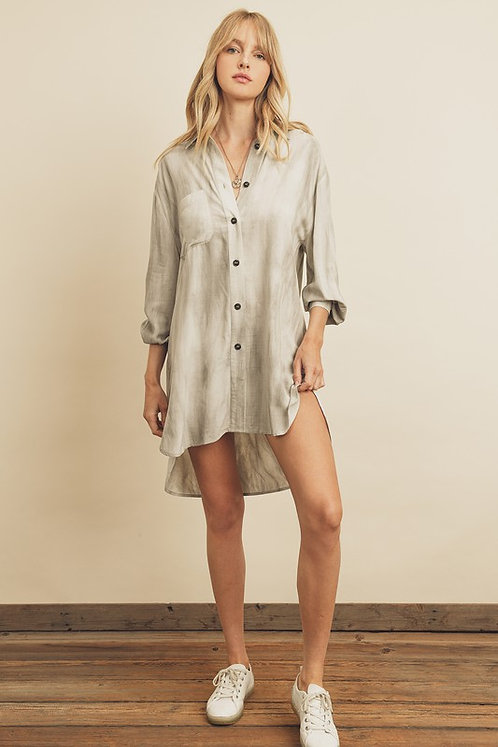 Grey Tie-Dye Hi-Low T-Shirt Dress