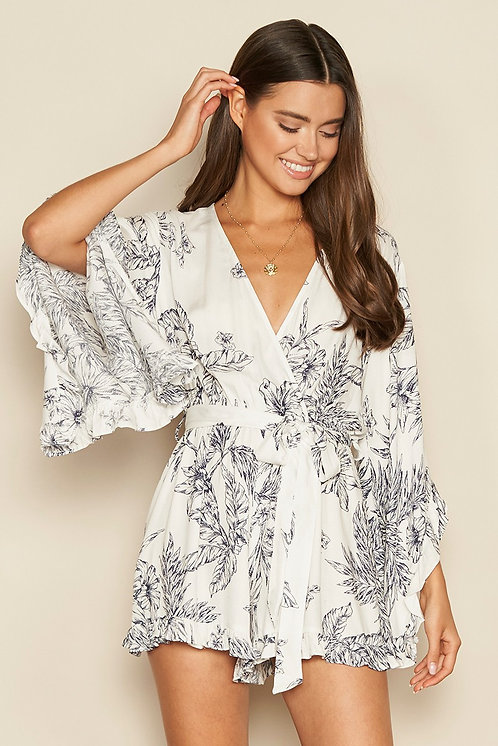 White & Navy Floral Bell Sleeve Romper