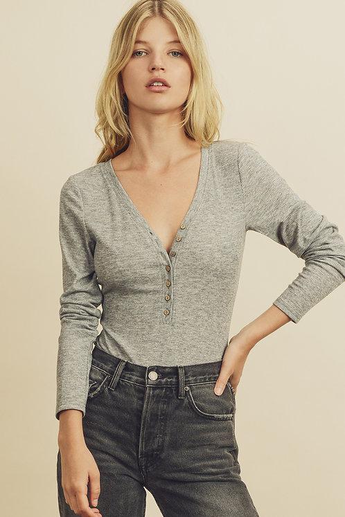 Grey Henley Long Sleeved Bodysuit
