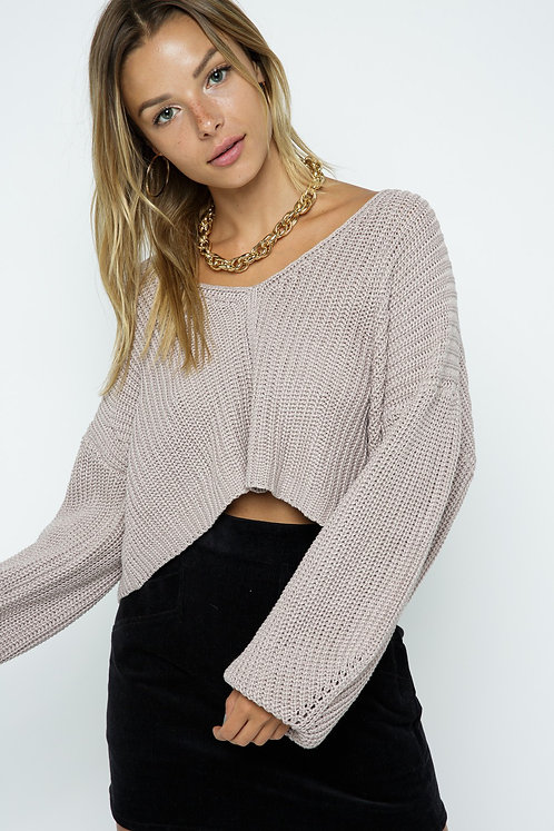 Mauve Slouchy Crop Sweater With Open Back