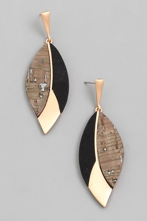 Black Geo Leaf Drop Earrings