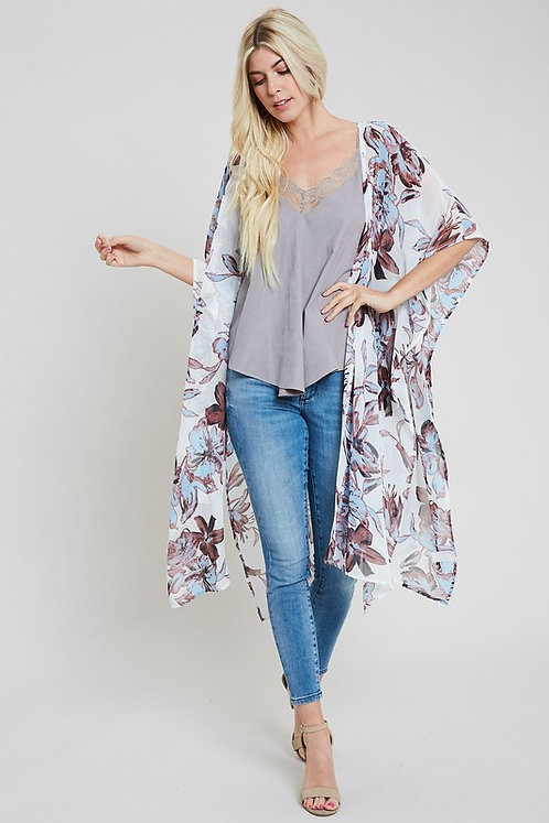 White Floral Kimono With Side Slits