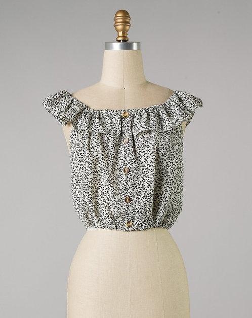 Ivory & Black Floral Print Off Shoulder Top