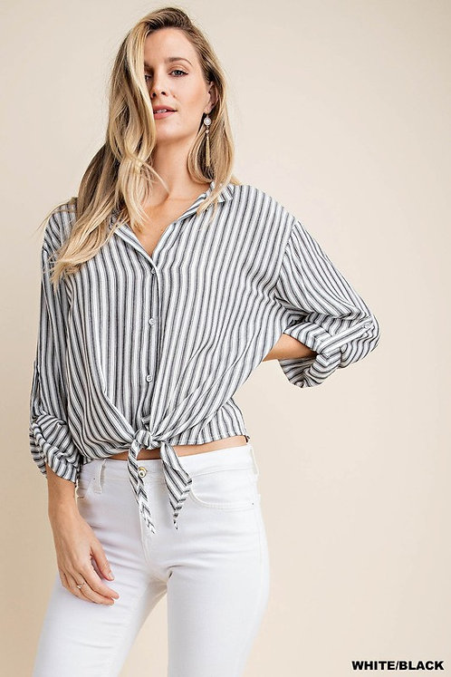 Black & White Striped Tie Front Button Up Shirt