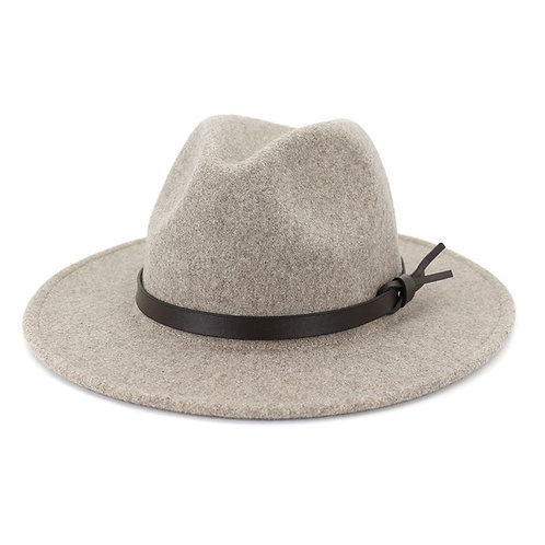 Trendy Speckled Fedora Hat With Tied Leather Belt