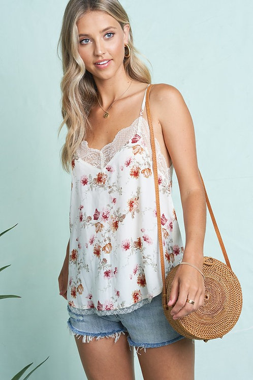 Ivory & Red Floral Cami With Lace Trims