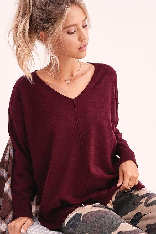 Wine Lightweight Soft Sweater