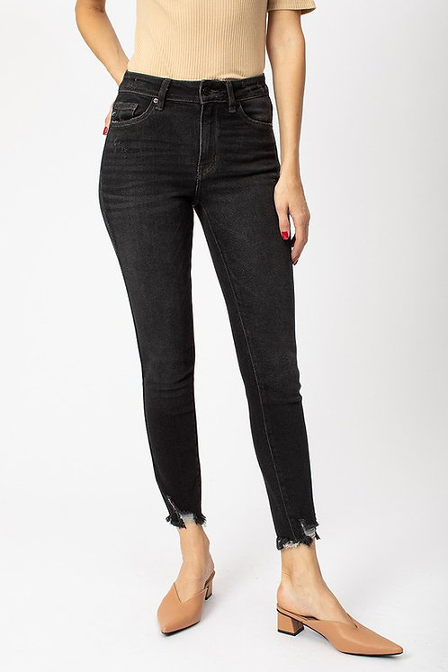 Washed Black High Rise Distressed Hem Jeans