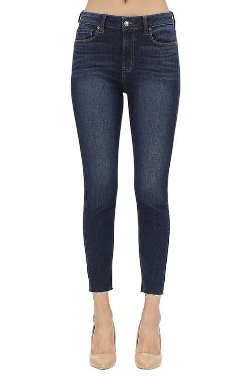 High Waisted Skinny Blue Jeans With Frayed Hems