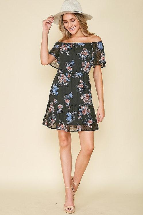 Black Floral Print Off Shoulder Dress