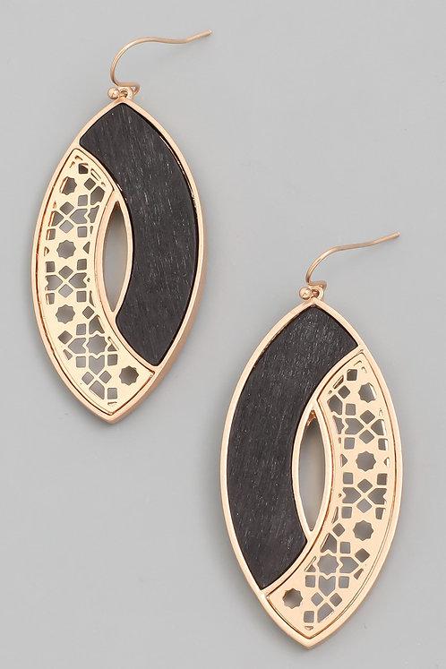 Gold Metal Floral Print & Wood Oval Earrings