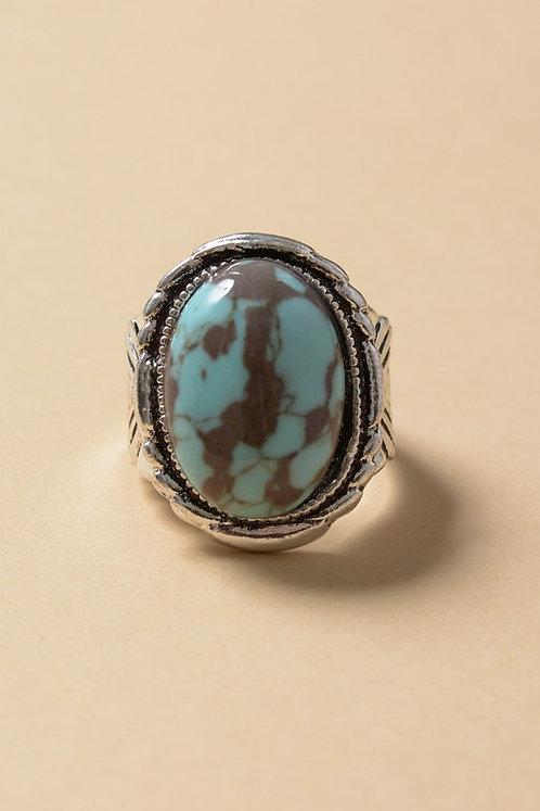 Turquoise Stone Round Statement Ring