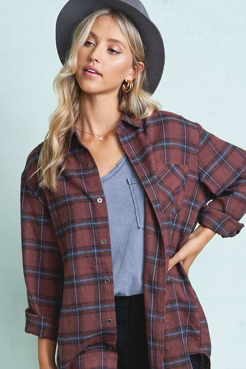 Chocolate Flannel Button Up Shirt
