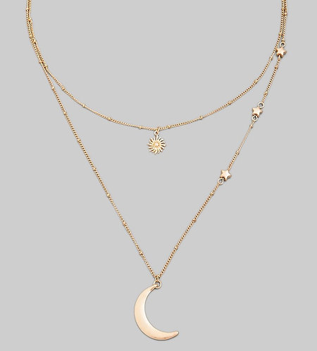 2 Layer Crescent Moon, Stars, & Sun Necklace