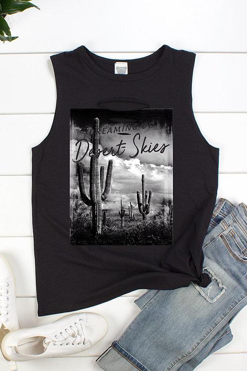 """Black """"Dreaming Of Desert Skies"""" Muscle Tank"""