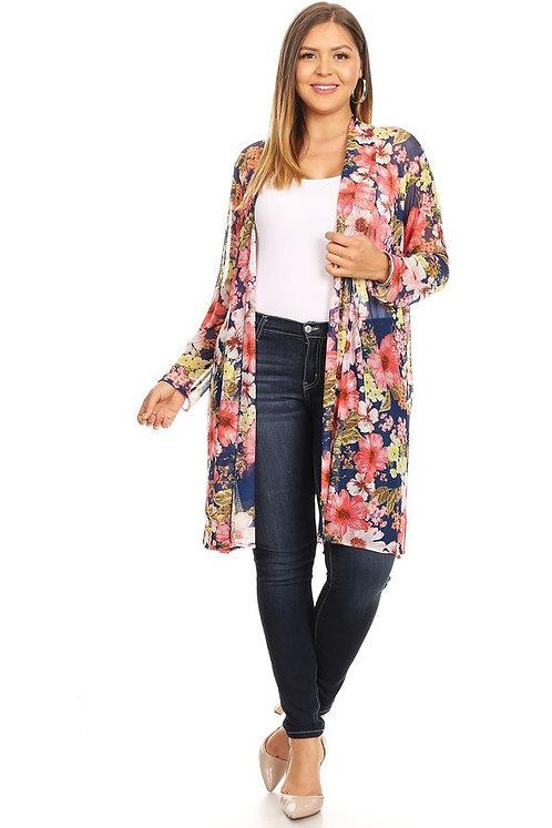 Bright Navy Mix Floral Kimono