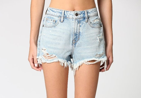 Light Wash Distressed Vintage Mom Shorts