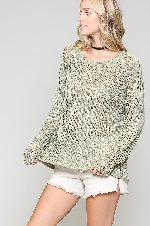 Dusty Olive Open Weave Knit Sweater