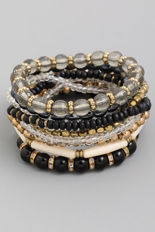 Black Multi Beaded Bracelet Set