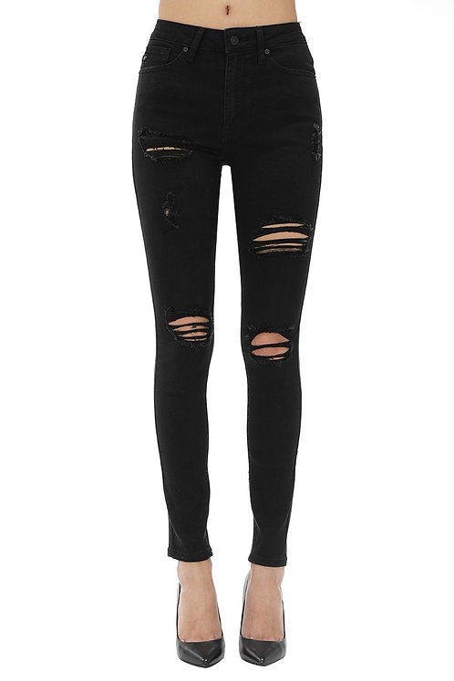 Black Distressed High Rise Jeans