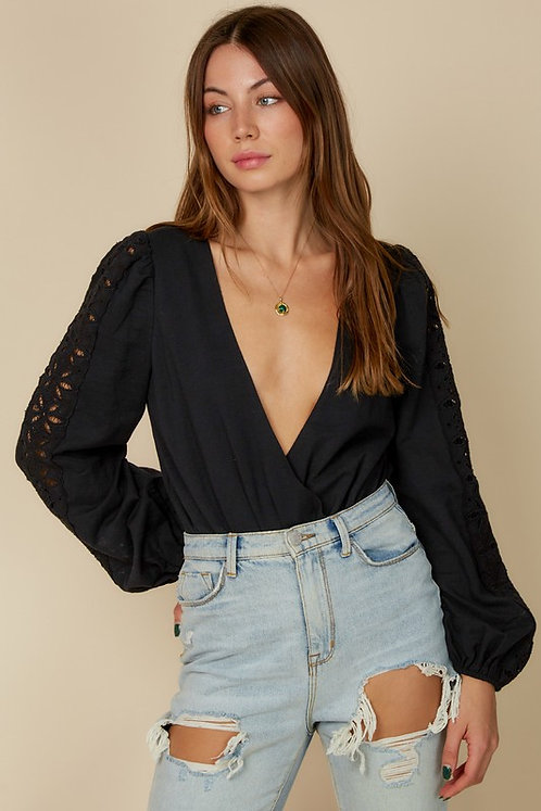 Black Laser Cutout Sleeve Surplice Bodysuit