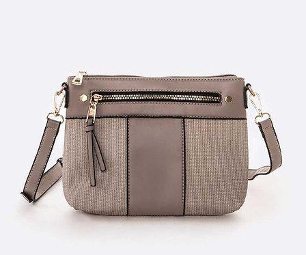 Grey Mixed Fabric Crossbody Bag