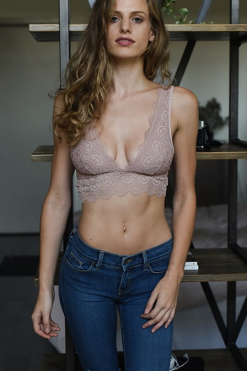 Dusty Rose Plunging Lace Bralette