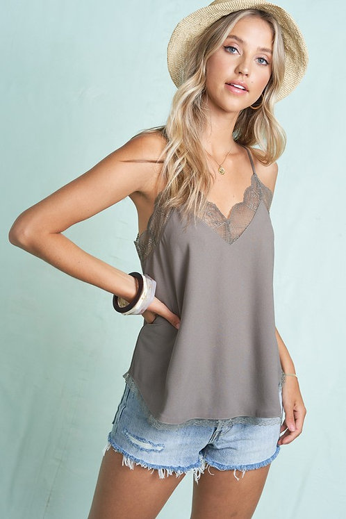 Mocha Cami With Lace Trims