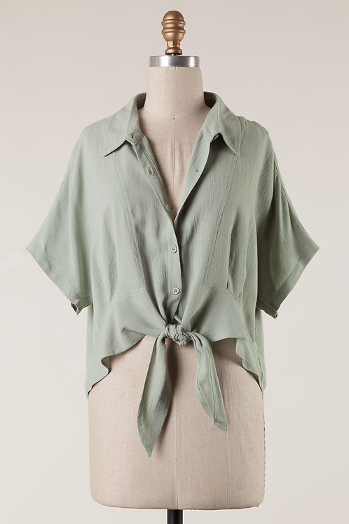 Sage Front Tie Button Up Shirt