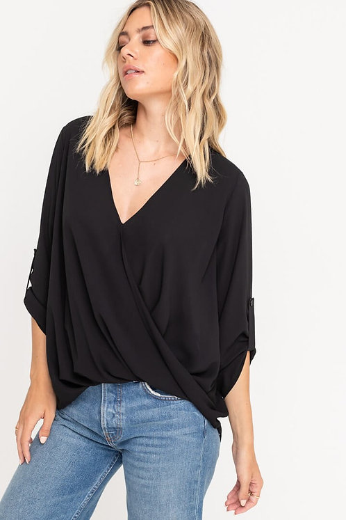 Black Surplice Blouse With Rolled Sleeves