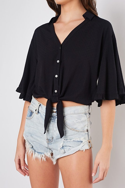 Black Front Tie Blouse With Flutter Sleeves