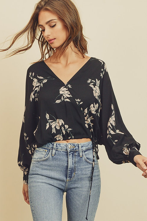 Black Floral Surplice Blouse