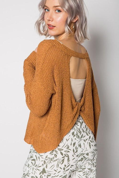 Camel Sweater With Open Twist Back