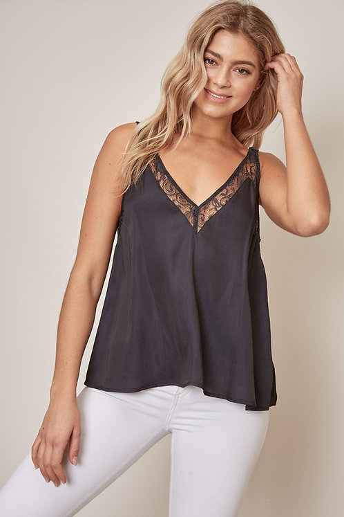 Silky V-Neck Lace Tank