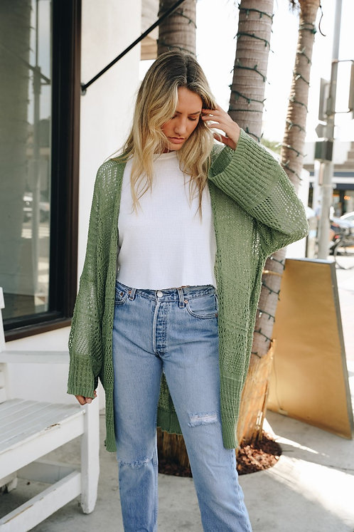 Netted Knit Slouchy Cardigan