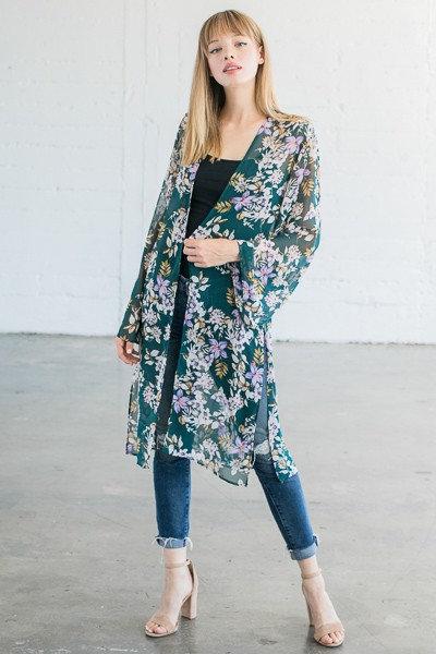 Olive Floral Print Kimono