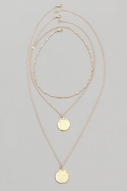 Gold 3 Layered Choker and Coins Necklaces