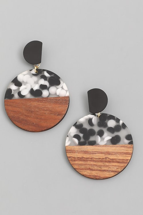 Half Speckled & Half Wood Circle Earrings
