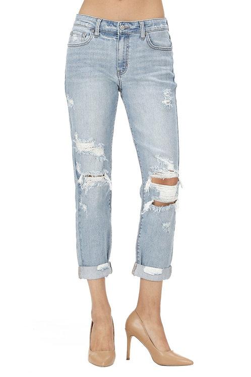 Light Denim Distressed Girlfriend Jeans
