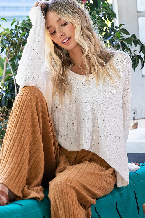 Cream Slouchy Oversized Tunic Sweater