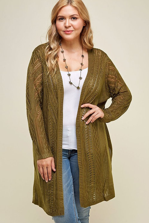 Olive Knit Open Front Cardigan