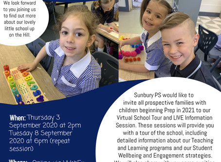 2021 Prep Information Sessions & School Tours