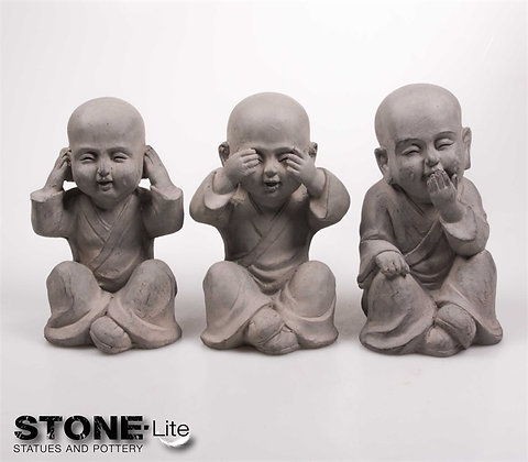 Shaolin horen zien & zwijgen set 15x12x25 cm