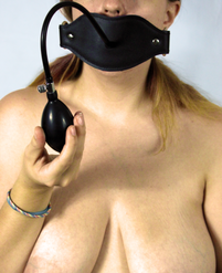 Inflatable ball gag in use