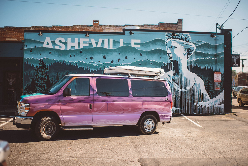Campervan in front of Asheville mural