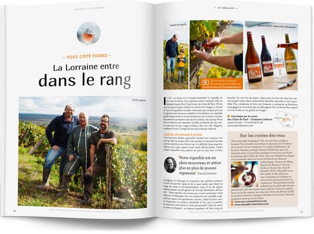 """Direction artistique et mise en page du magazine """"Voyages en Lorraine"""" 2016 / pp 56-57"""