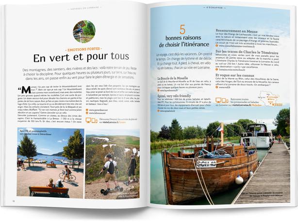 """Direction artistique et mise en page du magazine """"Voyages en Lorraine"""" 2016 / pp 12-13"""